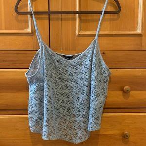 light blue/grey sheerish AEO tan top